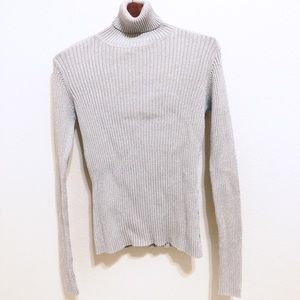 Joseph A | Gray With Silver Turtleneck Blouse | S